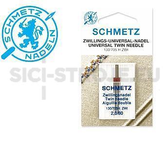 Eti 011 SCHMETZ universální dvojjehla 130/705H ZWI, rozpich 2,0mm, 2x80