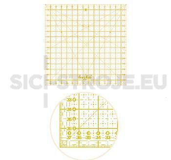 Rastrové pravítko pro patchwork 30 x 30 cm žlutý popis