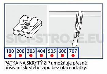 Patka na skrytý zip VE06 - 2