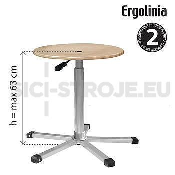 Průmyslová otočná stolička [dřevěná] - pneumatické zvedání - 2