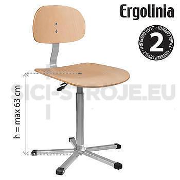Průmyslová otočná židle dřevěná - pneumatické zvedání - 2